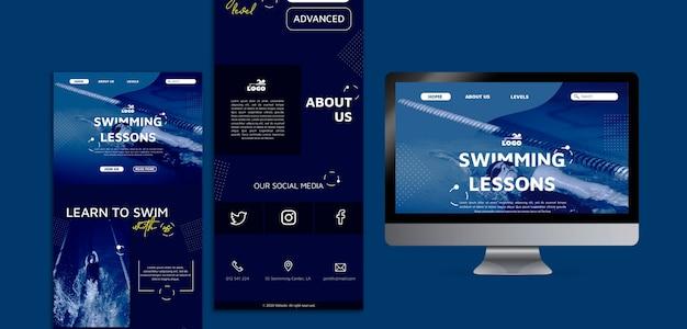 Modèles web de cours de natation avec photo