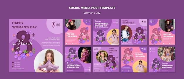 Modèles web pour les médias sociaux de la journée de la femme
