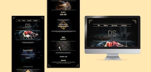 Modèles web de restaurant de cuisine moody