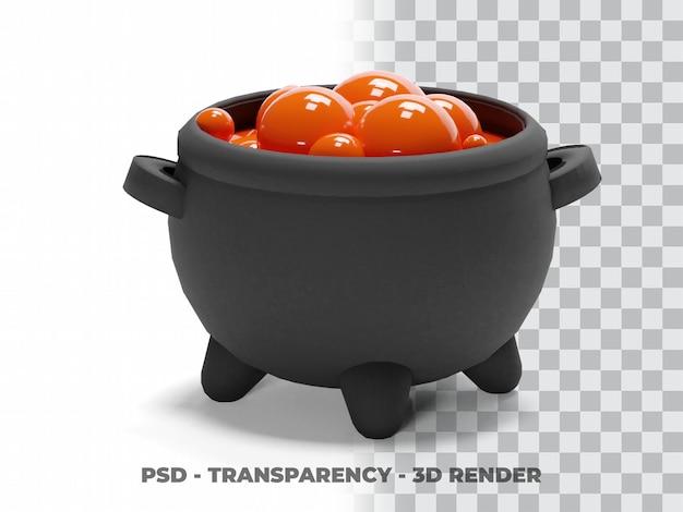 Modélisation 3d de chaudron de sorcière d'halloween avec fond transparent