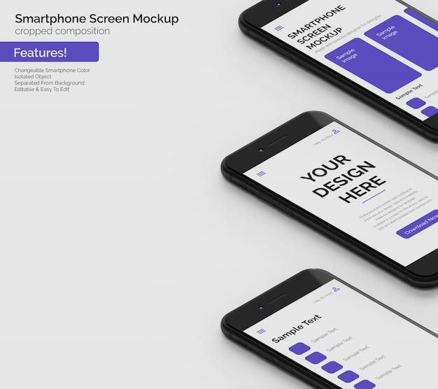 Modifiable trois dernières maquettes d'écran de téléphone se dans une composition recadrée à droite