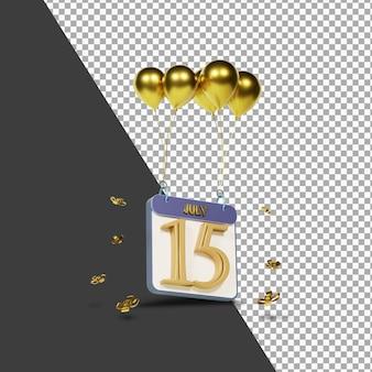 Mois calendaire 15 juillet avec rendu 3d de ballons dorés isolé