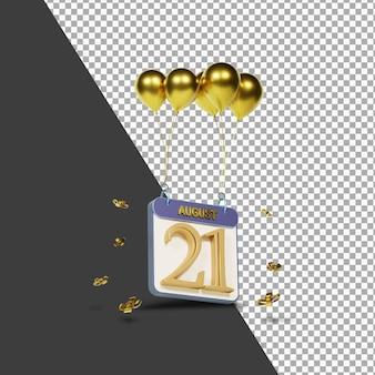 Mois calendaire 21 août avec rendu 3d de ballons dorés isolé