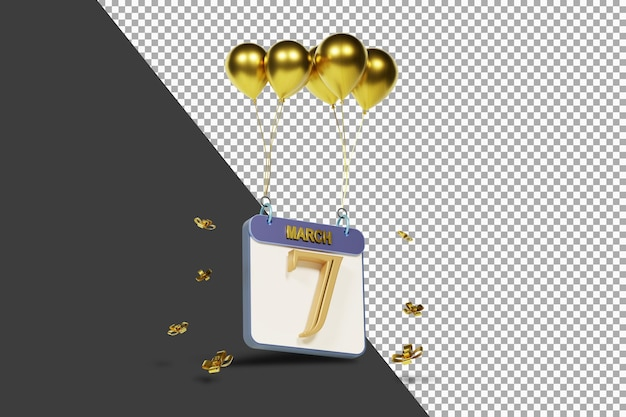 Mois calendaire 7 mars avec des ballons d'or rendu 3d isolé