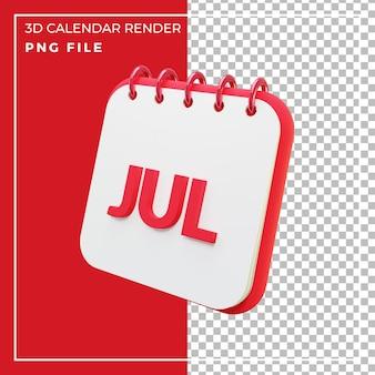 Mois de calendrier de rendu 3d juillet
