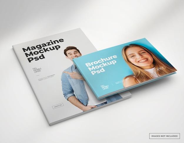Mokcup de brochure et couverture de magazine