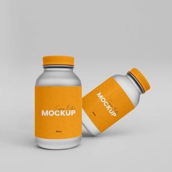 Mokup de bouteille de supplément en plastique 3d