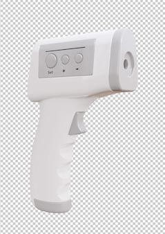 Moniteur d'écran thermomètre infrarouge isolé sur fond blanc