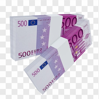 Monnaie de l'union européenne 500 euros : pile de billets européens en euros