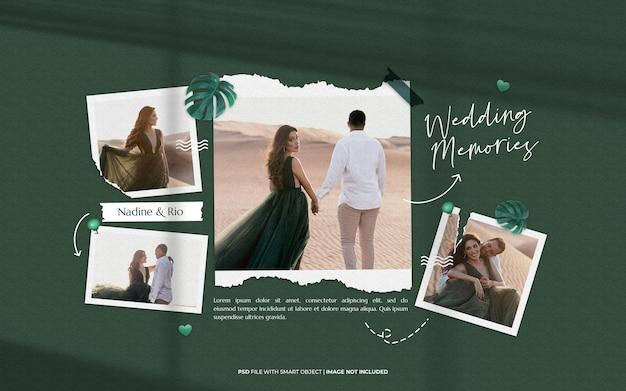 Moodboard de souvenirs de mariage maquette de cadre photo