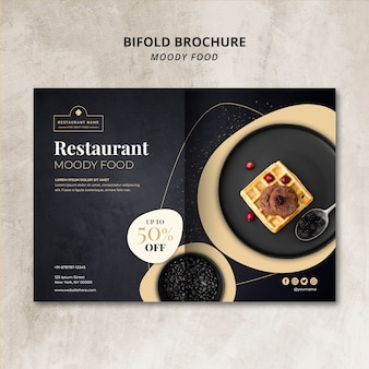 Moody food restaurant bifold brochure concept mock-up