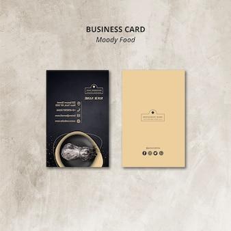 Moody food restaurant carte de visite concept maquette