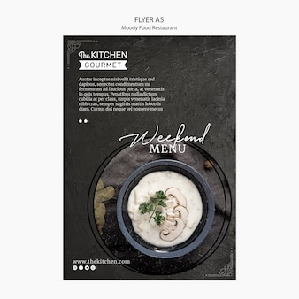 Moody food restaurant flyer concept mock-up