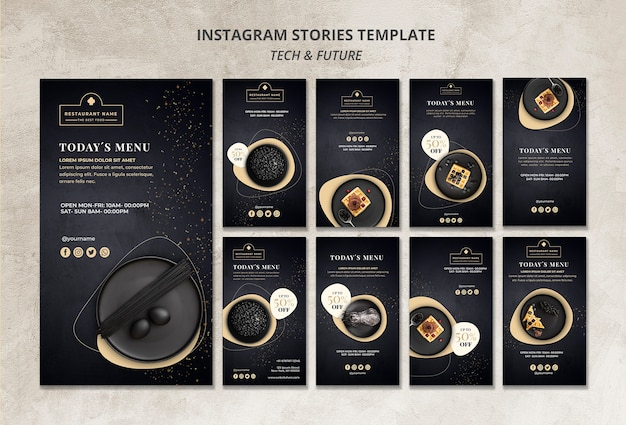Moody food restaurant instagram stories modèle concept maquette