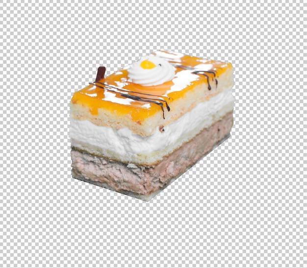 Morceau de gâteau isolé sur fond blanc
