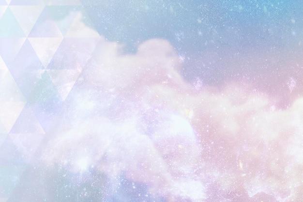 Motif triangle sur une illustration de fond galaxie pastel