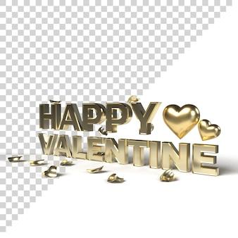 Mots 3d or happy valentine avec coeur d'or et pétale isolés