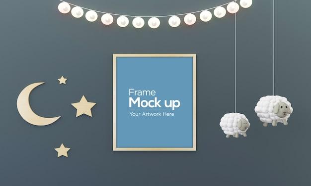 Moutons et lumières suspendus cadre photo pour enfants mockup design