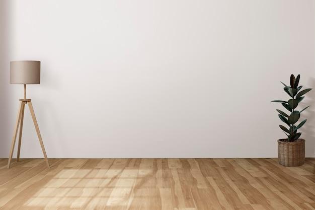 Mur blanc psd japandi intérieur du salon