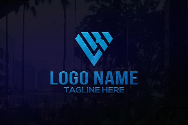 Mur de bureau de maquette de logo 3d