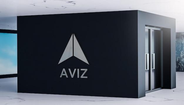 Mur de bureau de signe réaliste de maquette de logo 3d