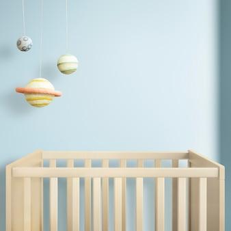 Mur de la chambre de bébé psd intérieur japandi