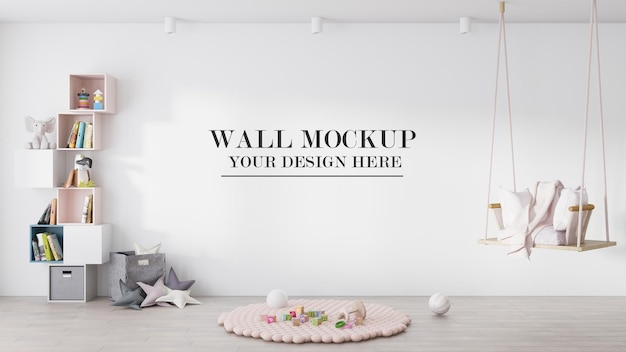 Mur de maquette de chambre d'enfant derrière la balançoire