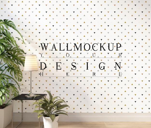 Mur de maquette dans un salon blanc moderne avec décoration
