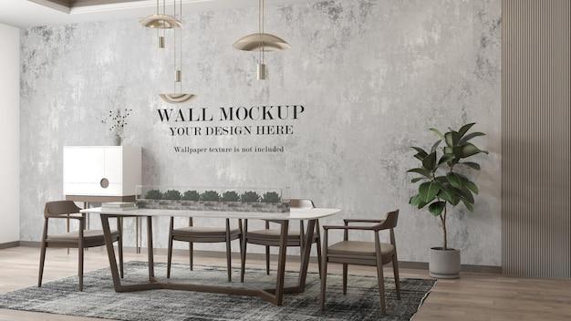 Mur de maquette de pièce avec des meubles modernes et des plantes à l'intérieur