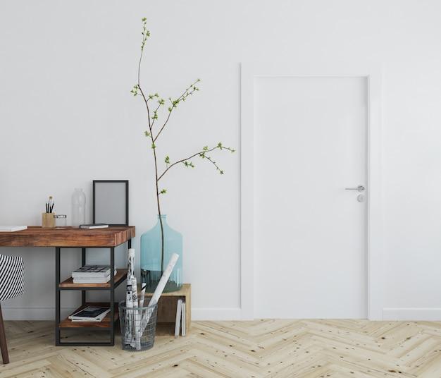 Mur avec maquette de porte vierge