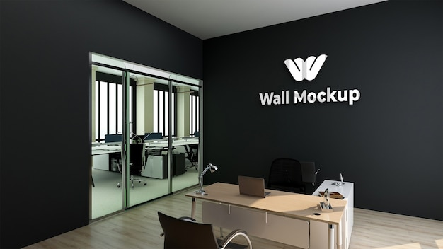 Mur noir de bureau de signe réaliste de maquette de logo argenté