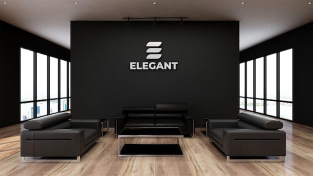 Mur noir de bureau de signe réaliste de maquette de logo
