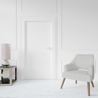 Mur avec porte vierge et chaise