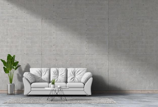 Mur de salon intérieur en béton avec canapé, plante, lampe, rendu 3d