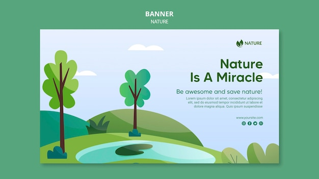 La nature est la clé du modèle de bannière de la vie