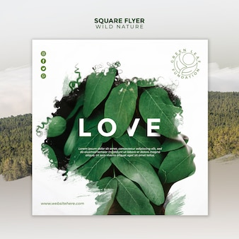 Nature sauvage avec silhouette femme abstraite et feuilles flyer carré