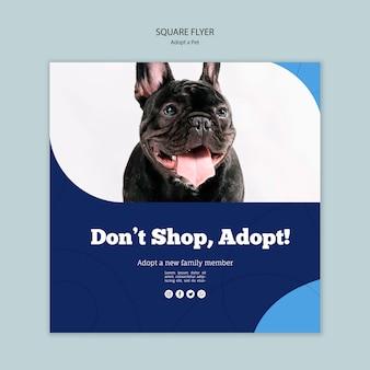 Ne faites pas de shopping, adoptez un modèle de flyer carré pour animaux de compagnie