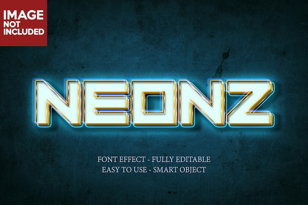 Neon 3d font effect