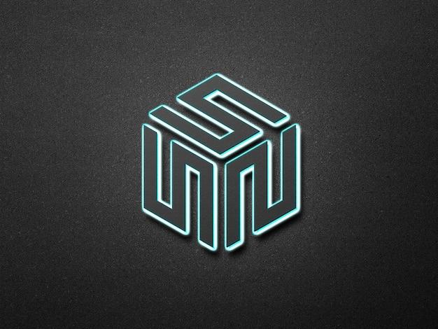 Néon 3d logo maquette fond de mur foncé