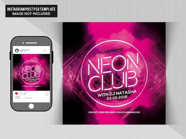 Neon club party flyer