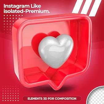 Néon comme instagram isolé dans la conception de rendu 3d
