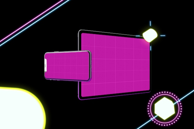 Neon mobile & tablet pro mockup