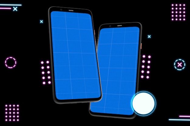 Neon mobiles mockup