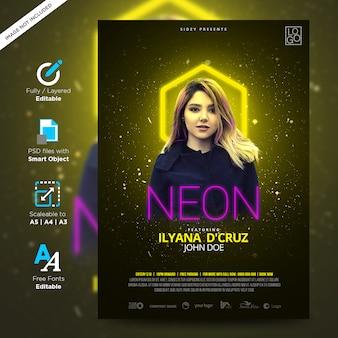 Neon musique nuit amusante et affiche de la création de flyer néon modèle nuit dj