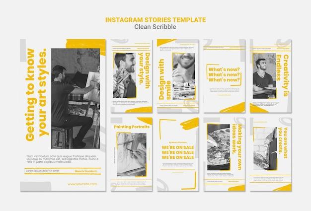 Nettoyer les histoires instagram de griffonnage