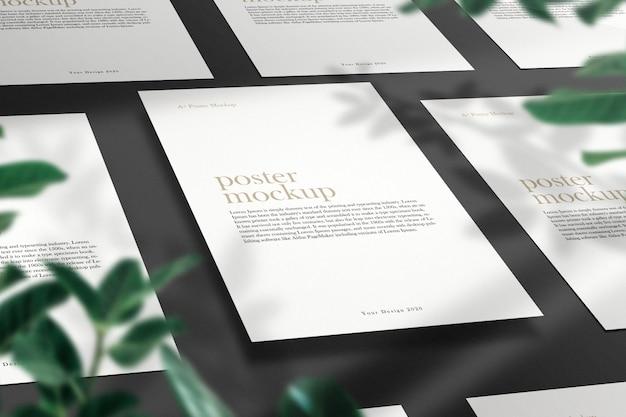 Nettoyer La Maquette Minimale De Flyer Sur Une Table Grise Avec Une Ombre De Feuilles Vertes. PSD Premium