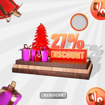 Noël 27 pour cent de réduction de vente étiquette rendu 3d illustration