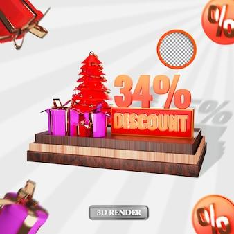 Noël 34 pour cent de réduction de vente étiquette rendu 3d illustration