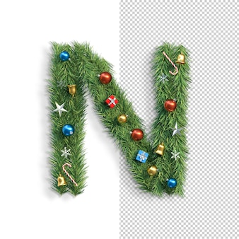 Noël, alphabet, lettre n