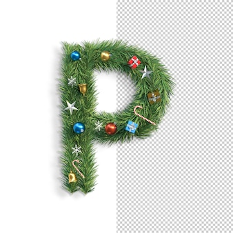 Noël, alphabet, lettre p